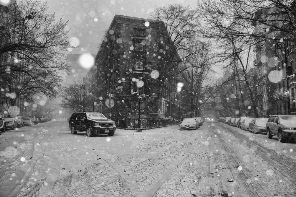 grayscale photography of street during witner