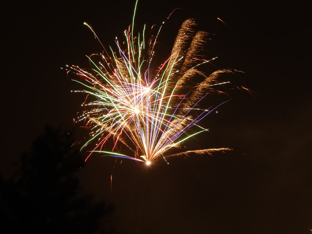 worm's-eye view photo of multicolored fireworks display