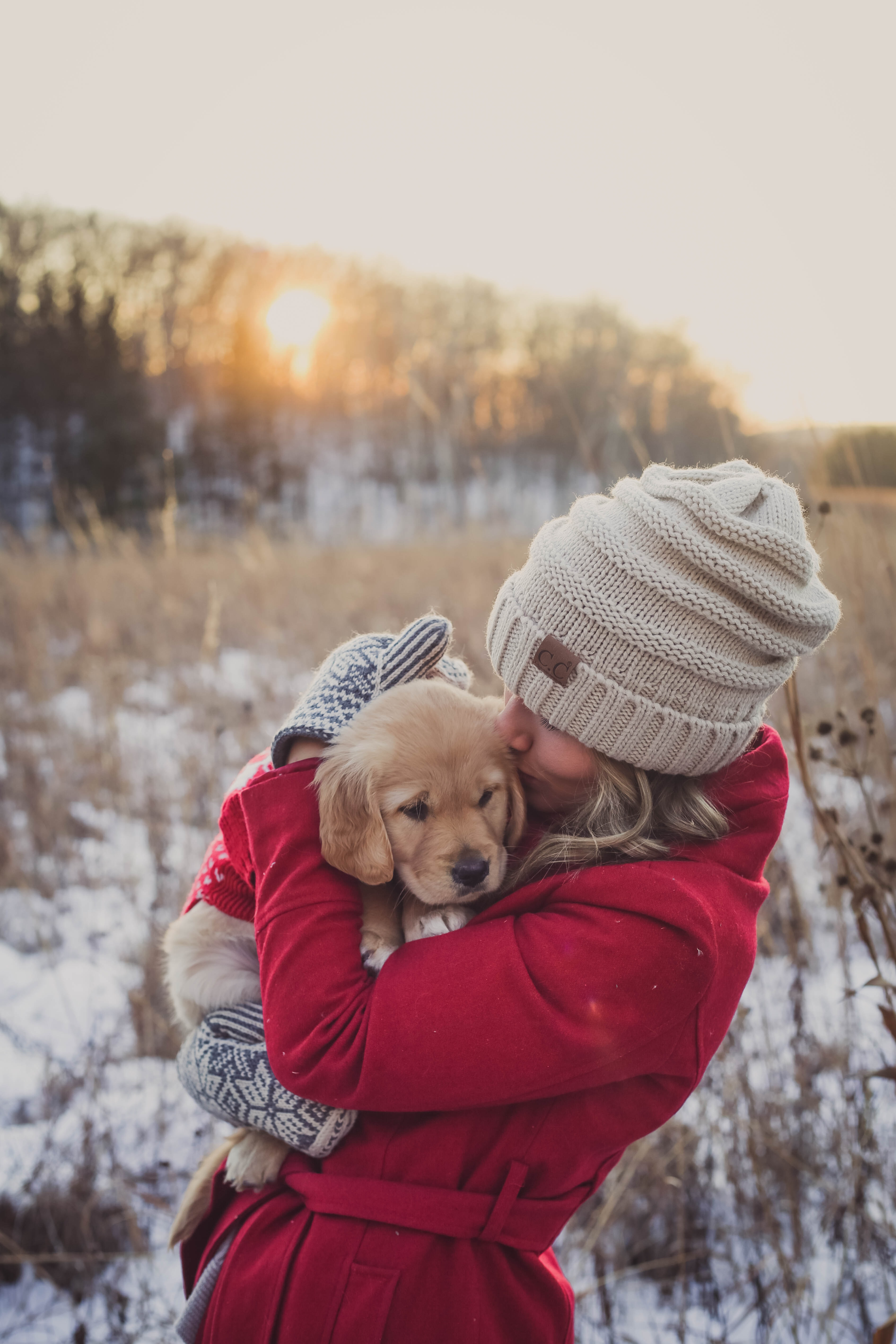 shallow focus photography of woman carrying puppy