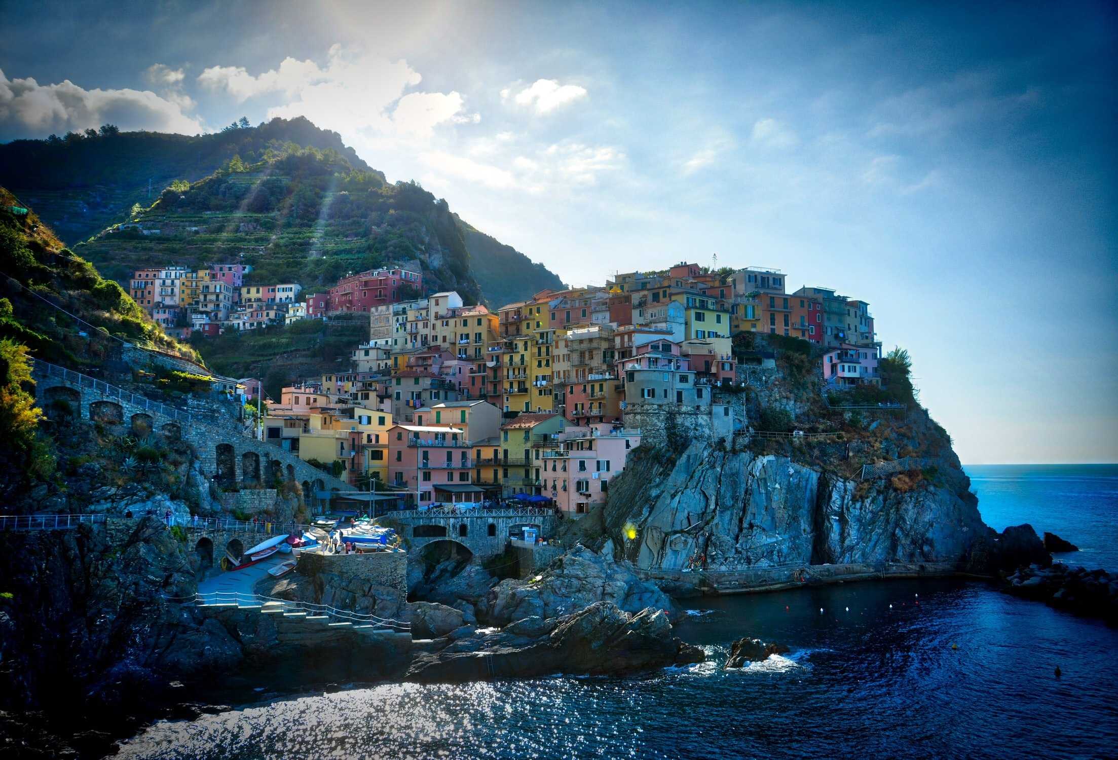 seaside town on cliff during daytime