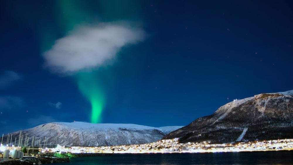 photo of aurora borealis on mountain
