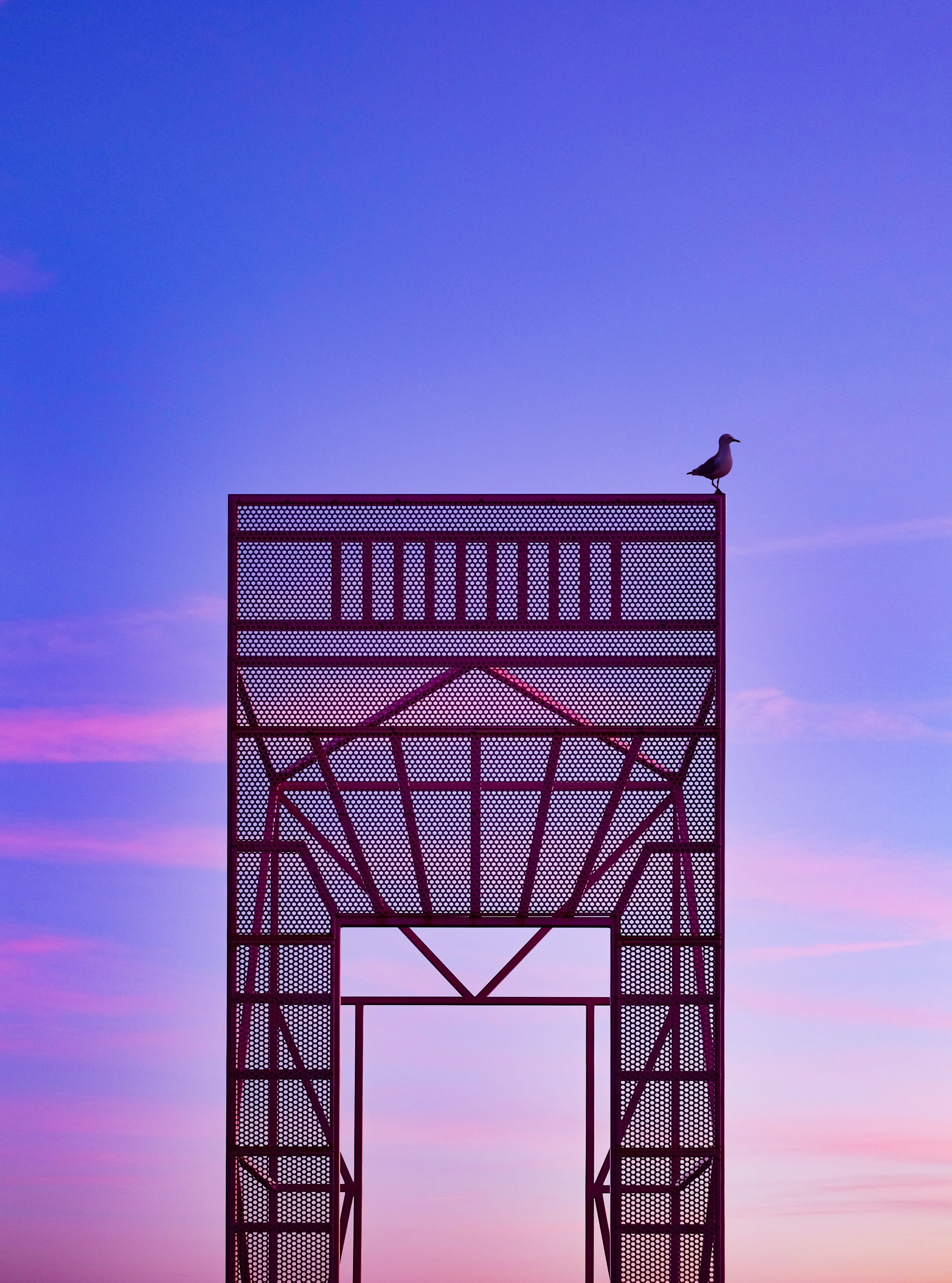 black bird on top of red steel structure