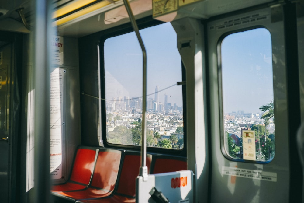 red and gray train interior