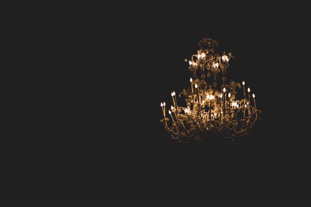 turn on upright chandelier