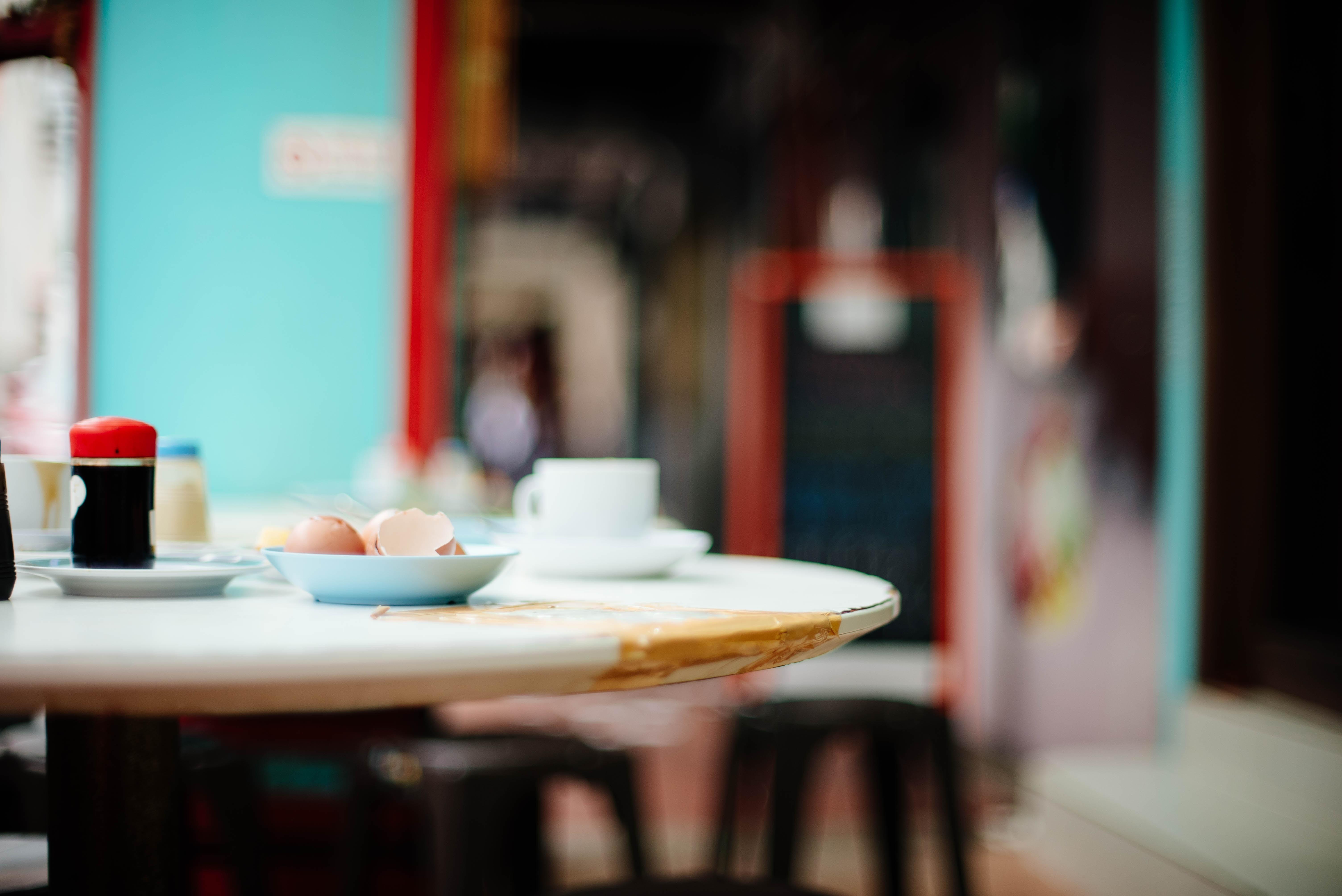 white ceramic dinnerwares on table