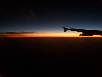Mormugao silhouette photograph of plane wing during golden hour