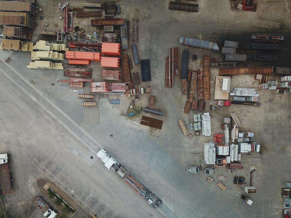 top view of truck trailers on junkyard