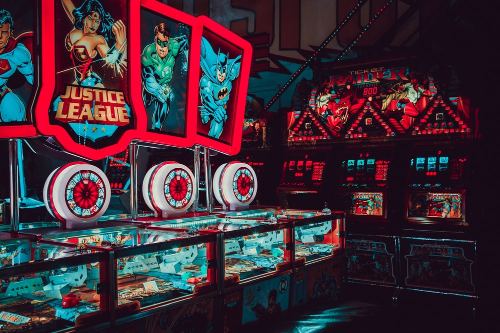 Justice League themed arcade room