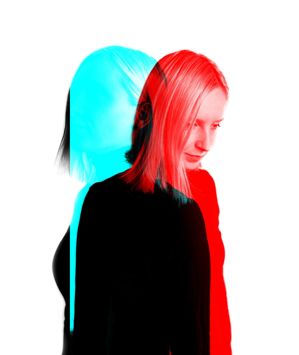 woman with red and blue photo effects