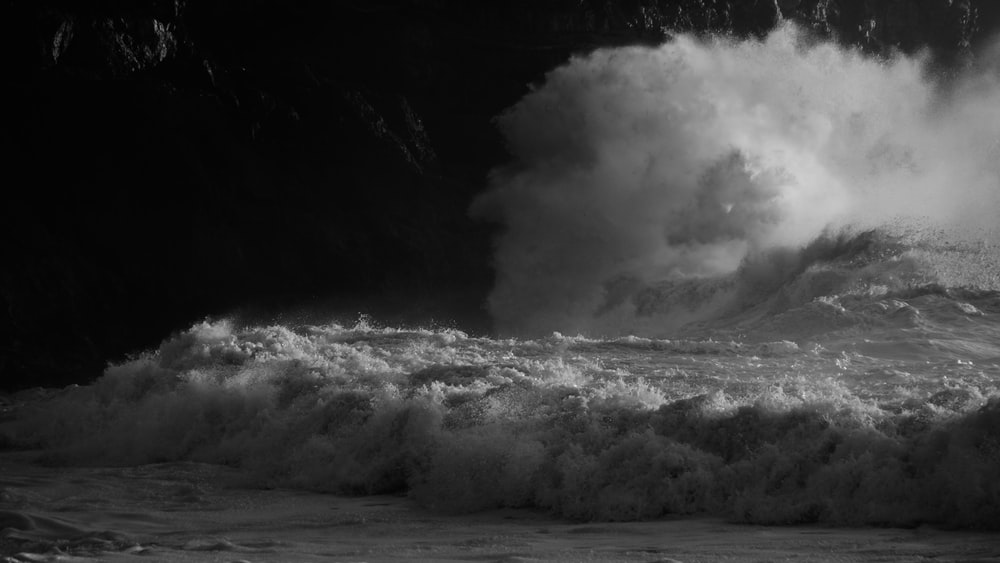 grayscale photo of windwave