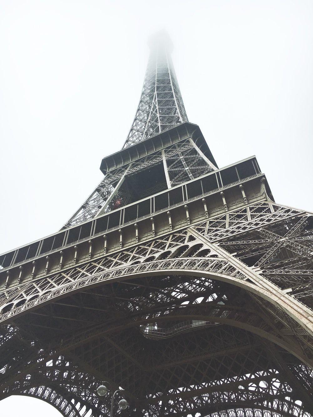 worm's-eye view of Eiffel Tower