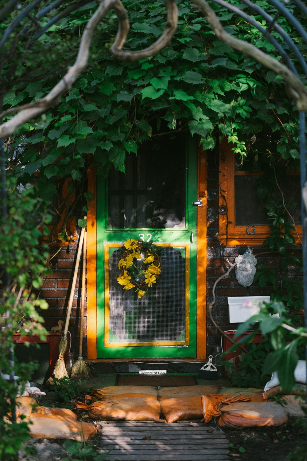 photo of green full-lite door with flower accent