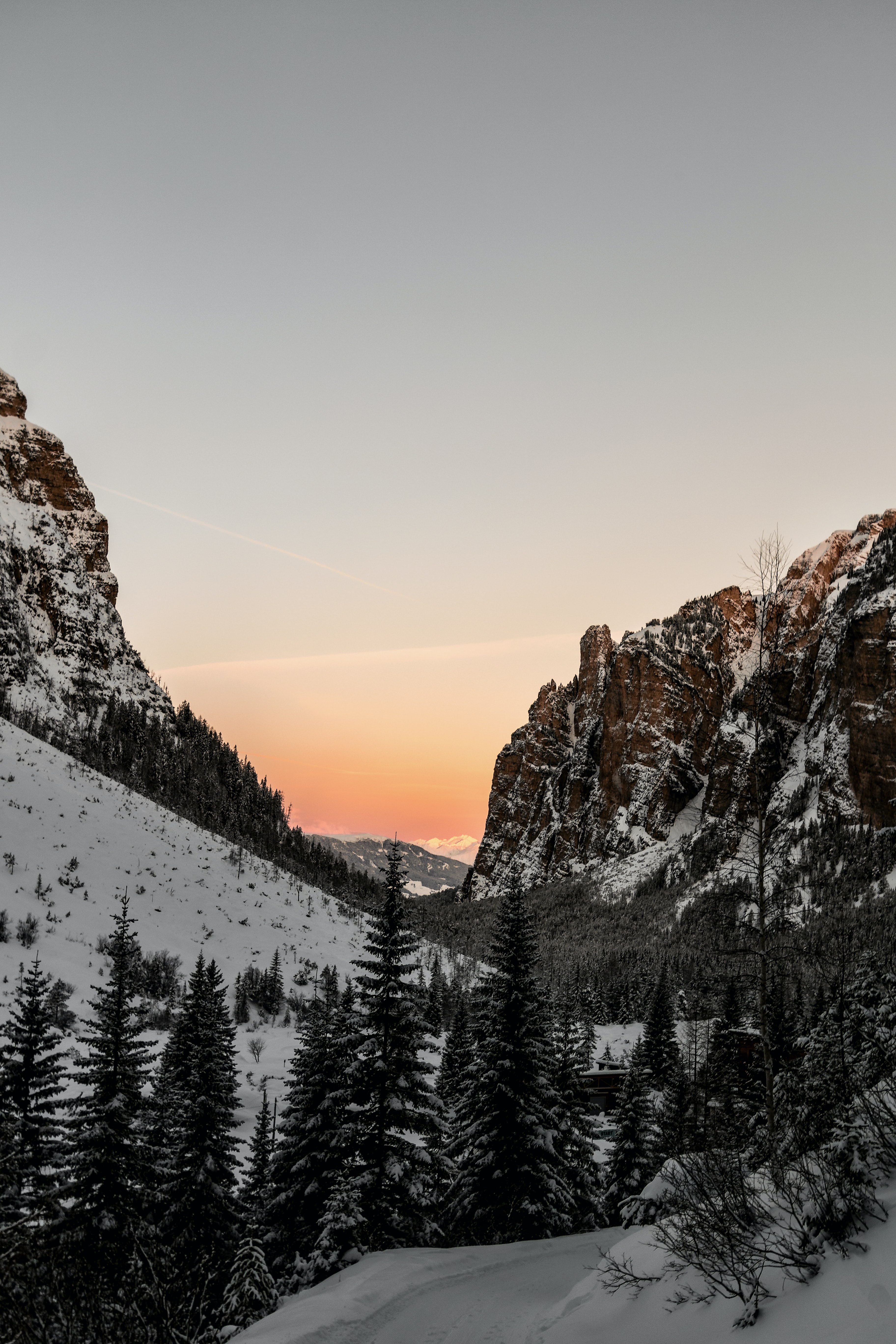 mountain covered by snow at golden hour