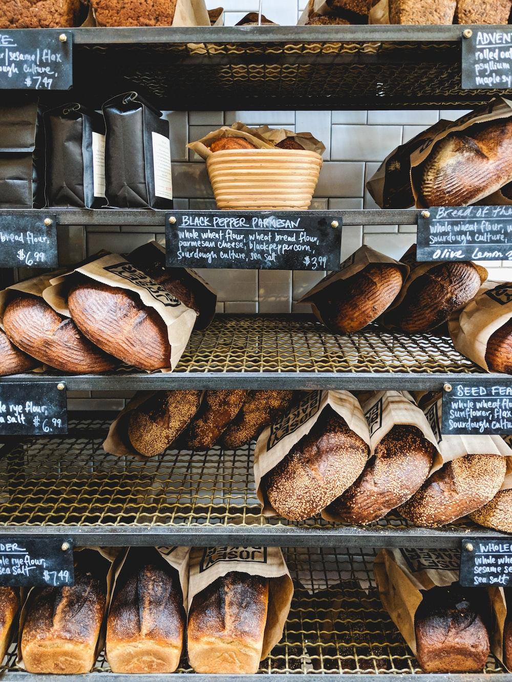 baked breads in rack