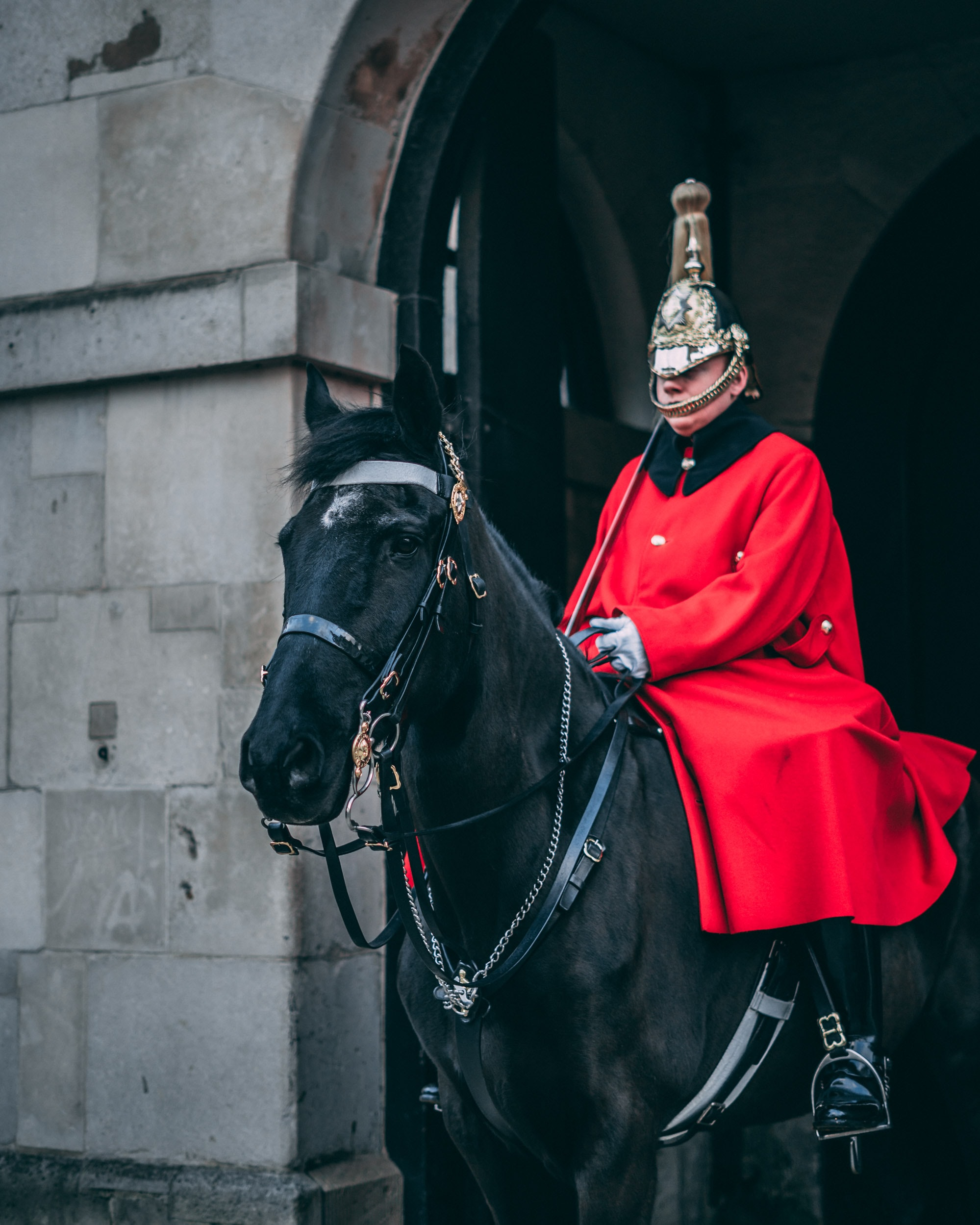 man wearing red coat riding on black horse