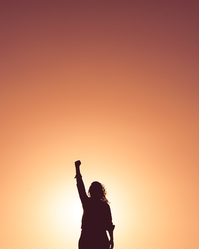 A silhouette of a woman raising her fist into the air