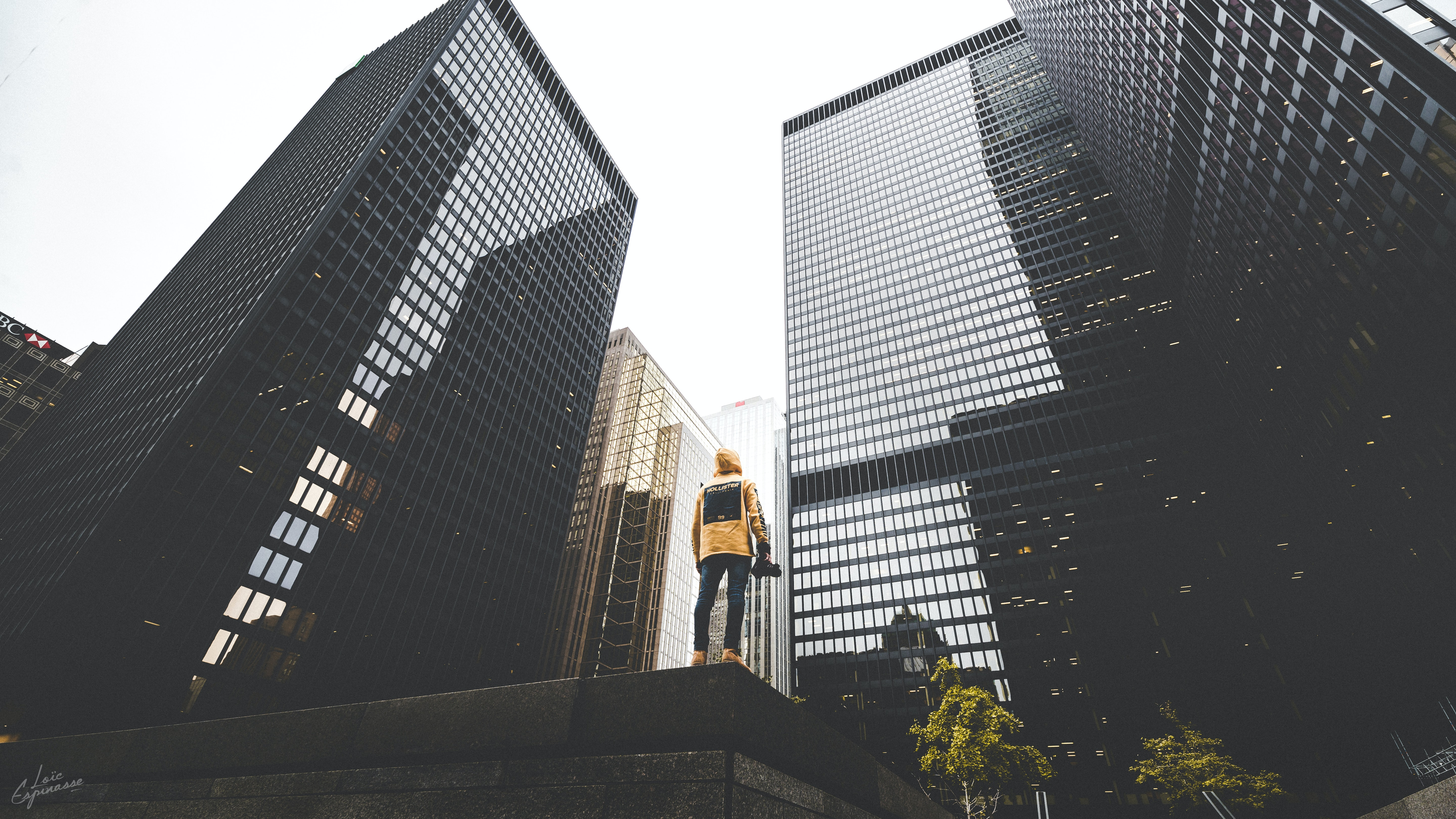 person facing on buildings