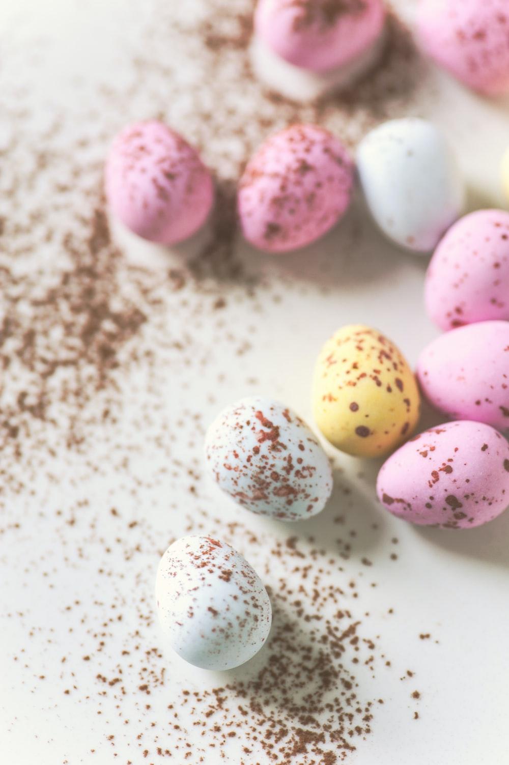 assorted-color quail eggs