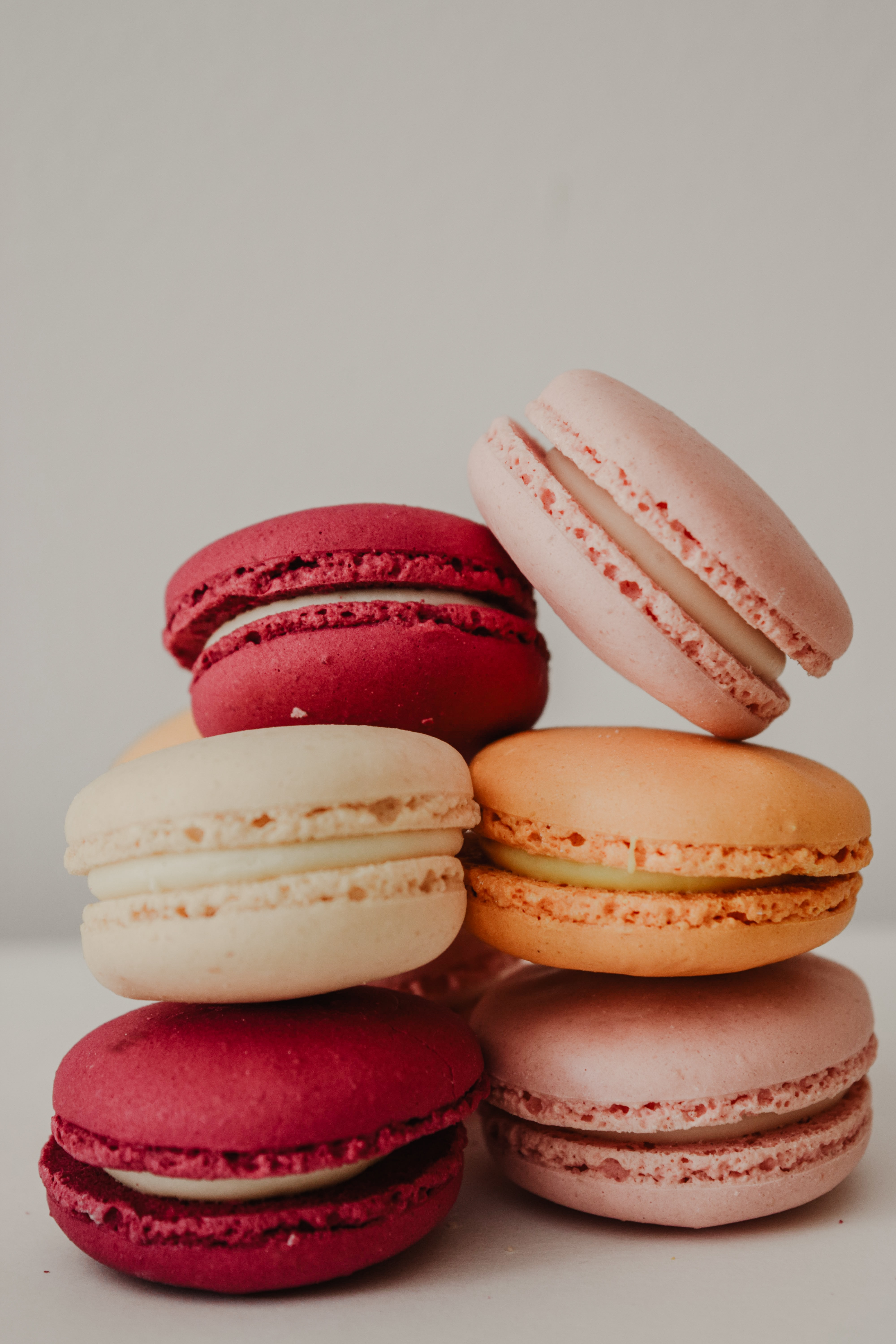 six assorted-color macaroons