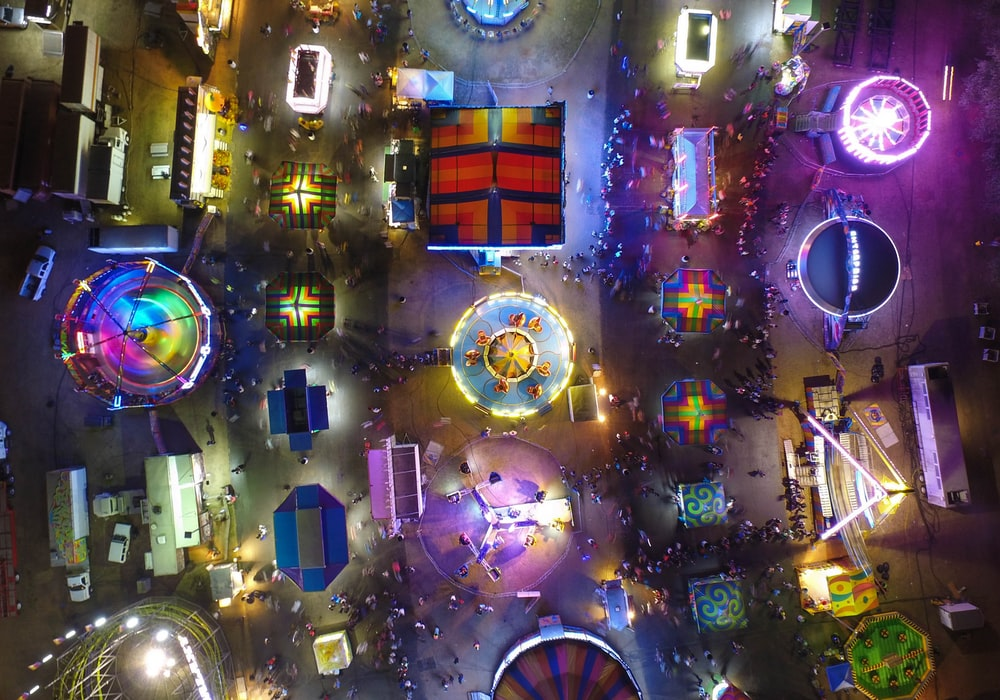 birds eye view of lighted buildings