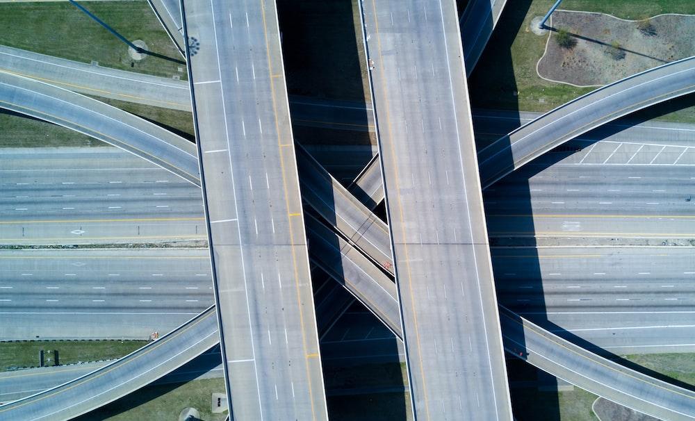 aerial shot of highway