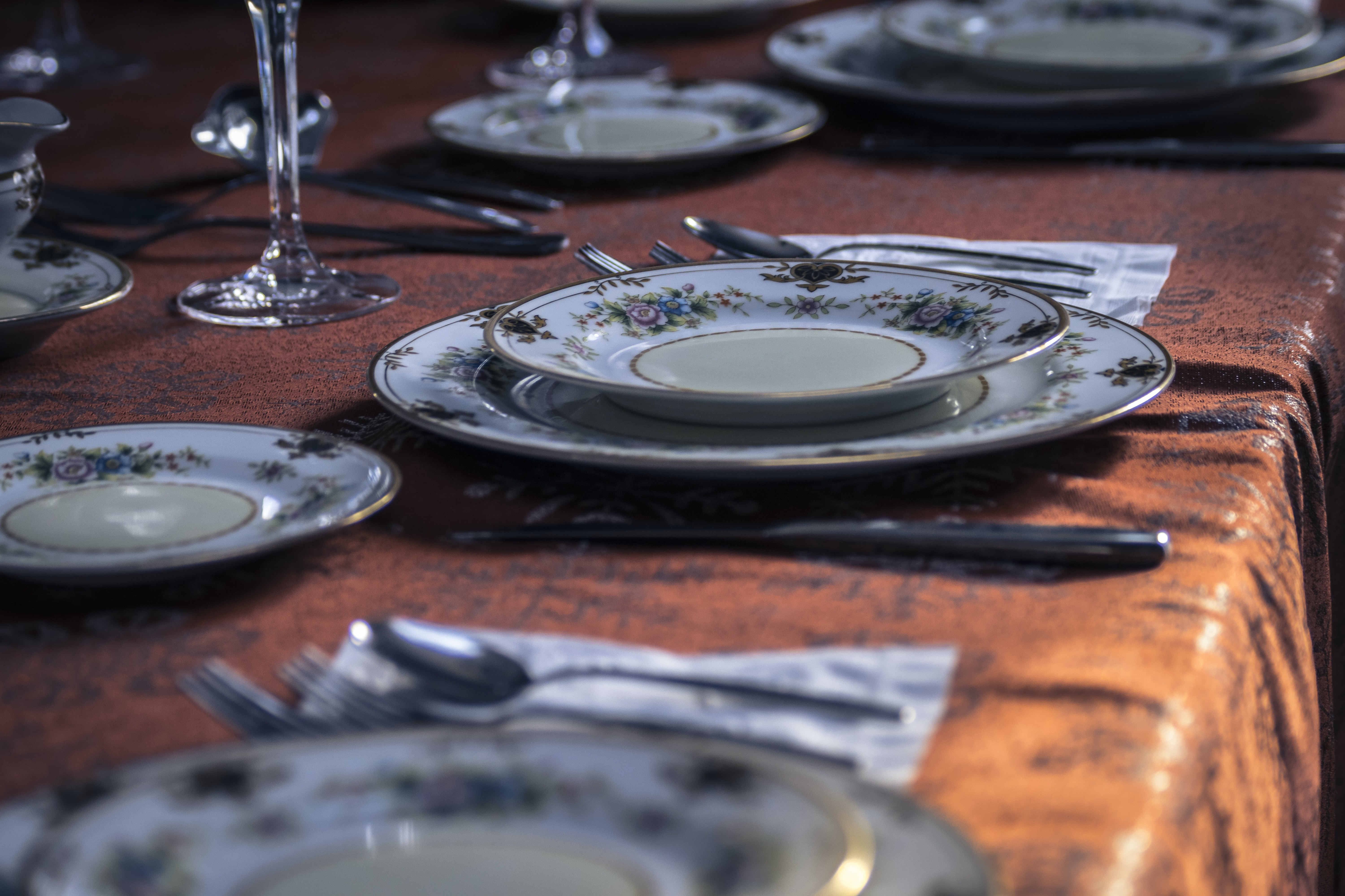 shallow photography of table settings