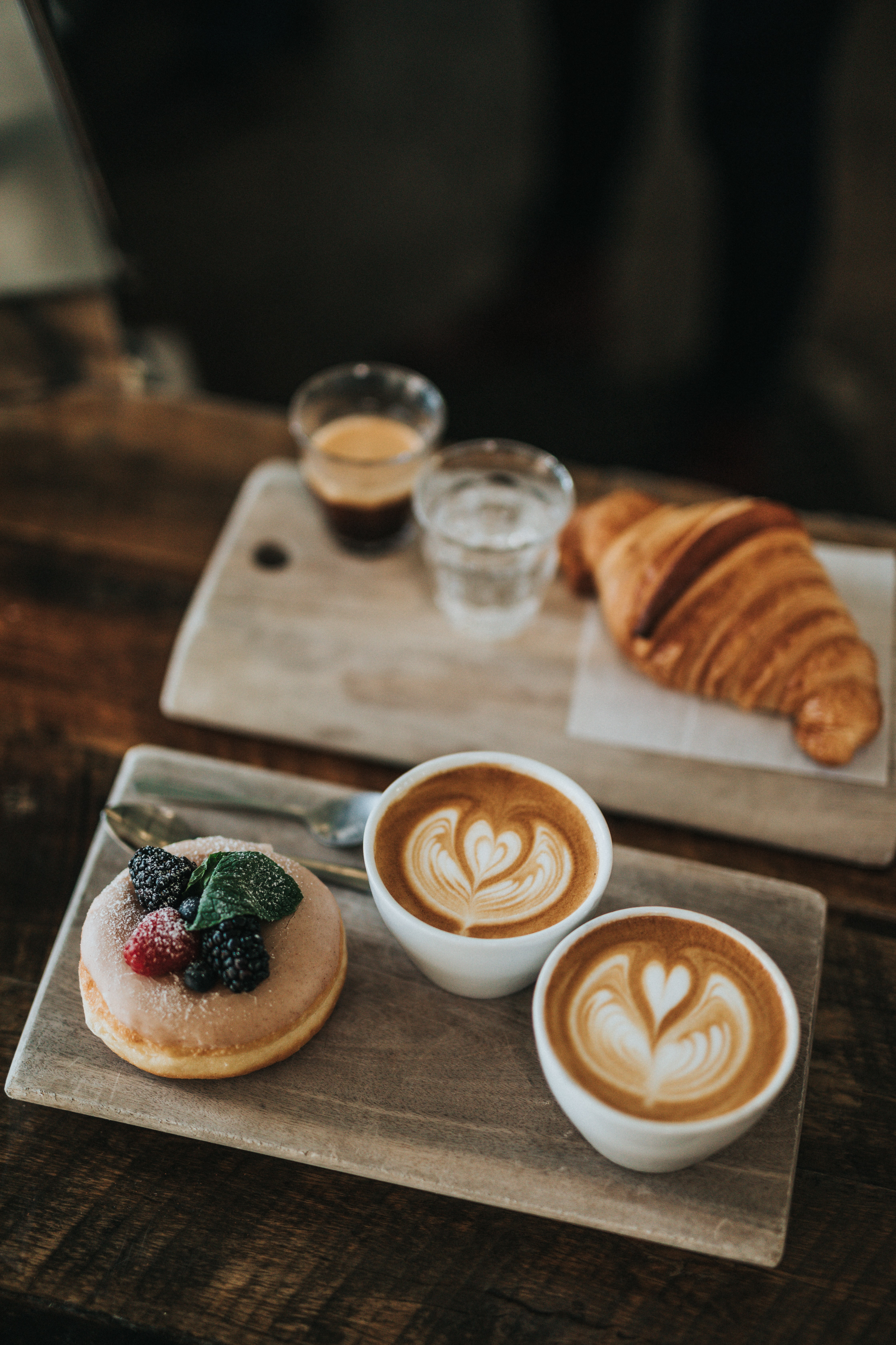 doughnuts with latte cups