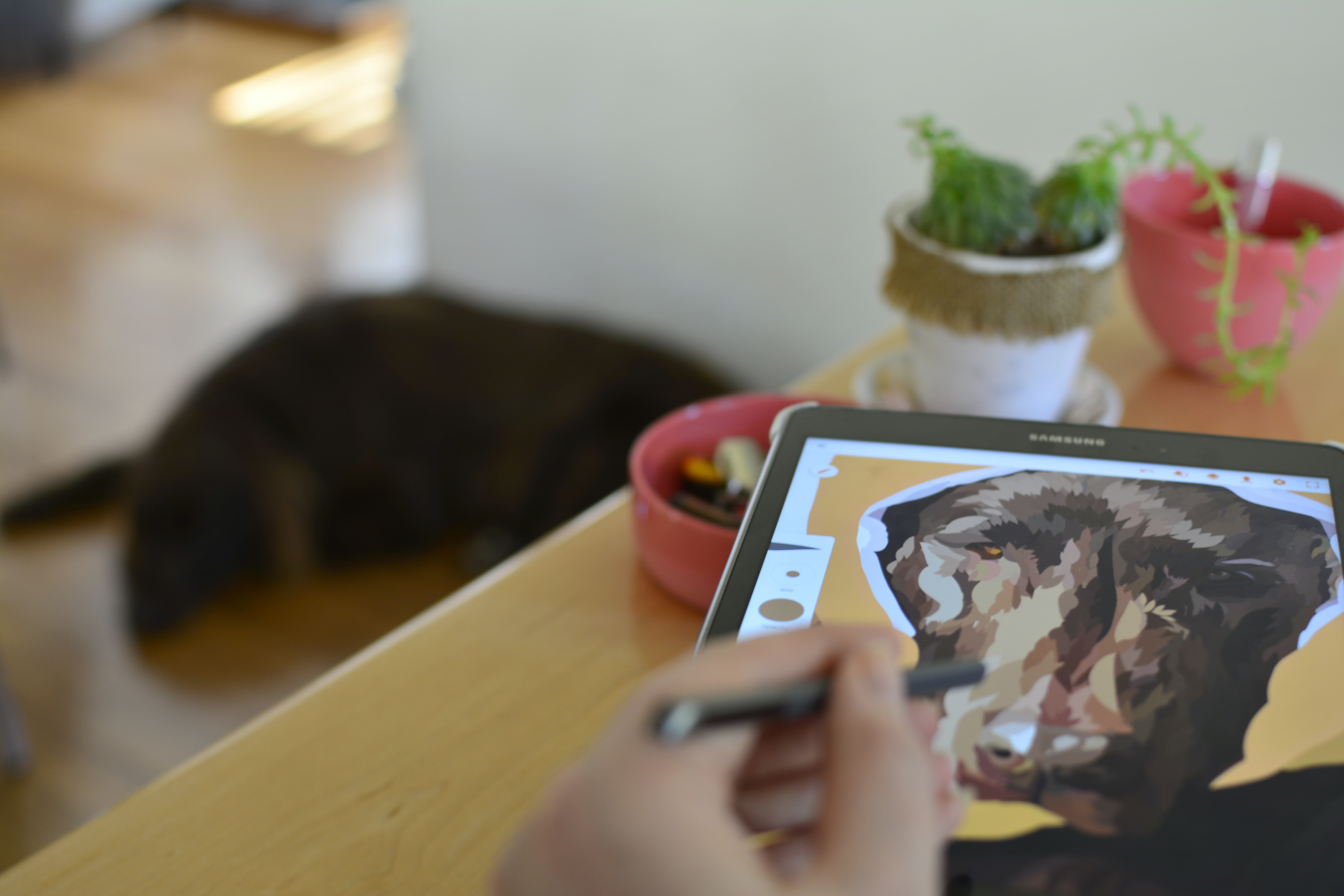 drawing a dog illustration in a tablet