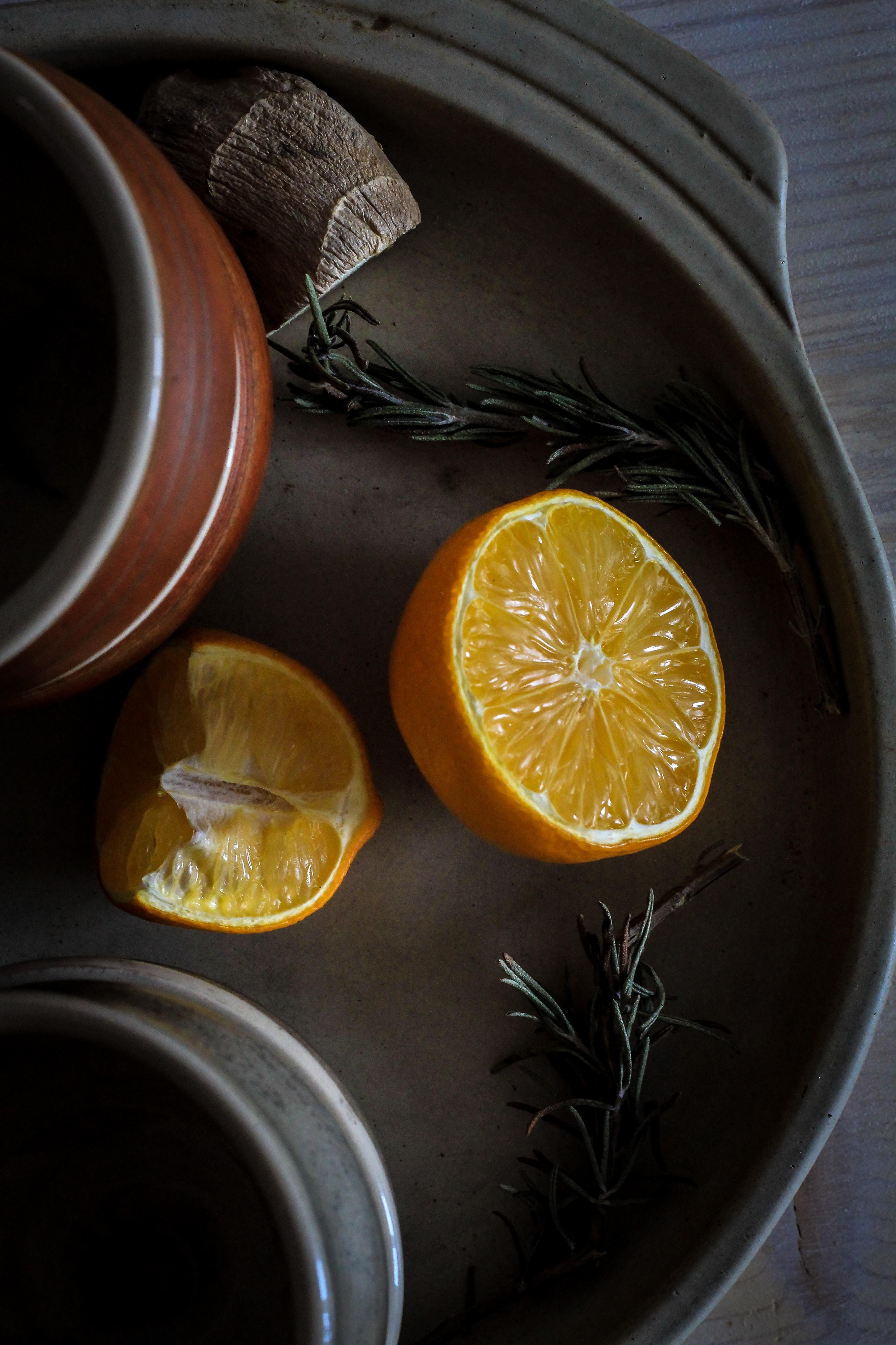 photo of sliced orange fruit on tray