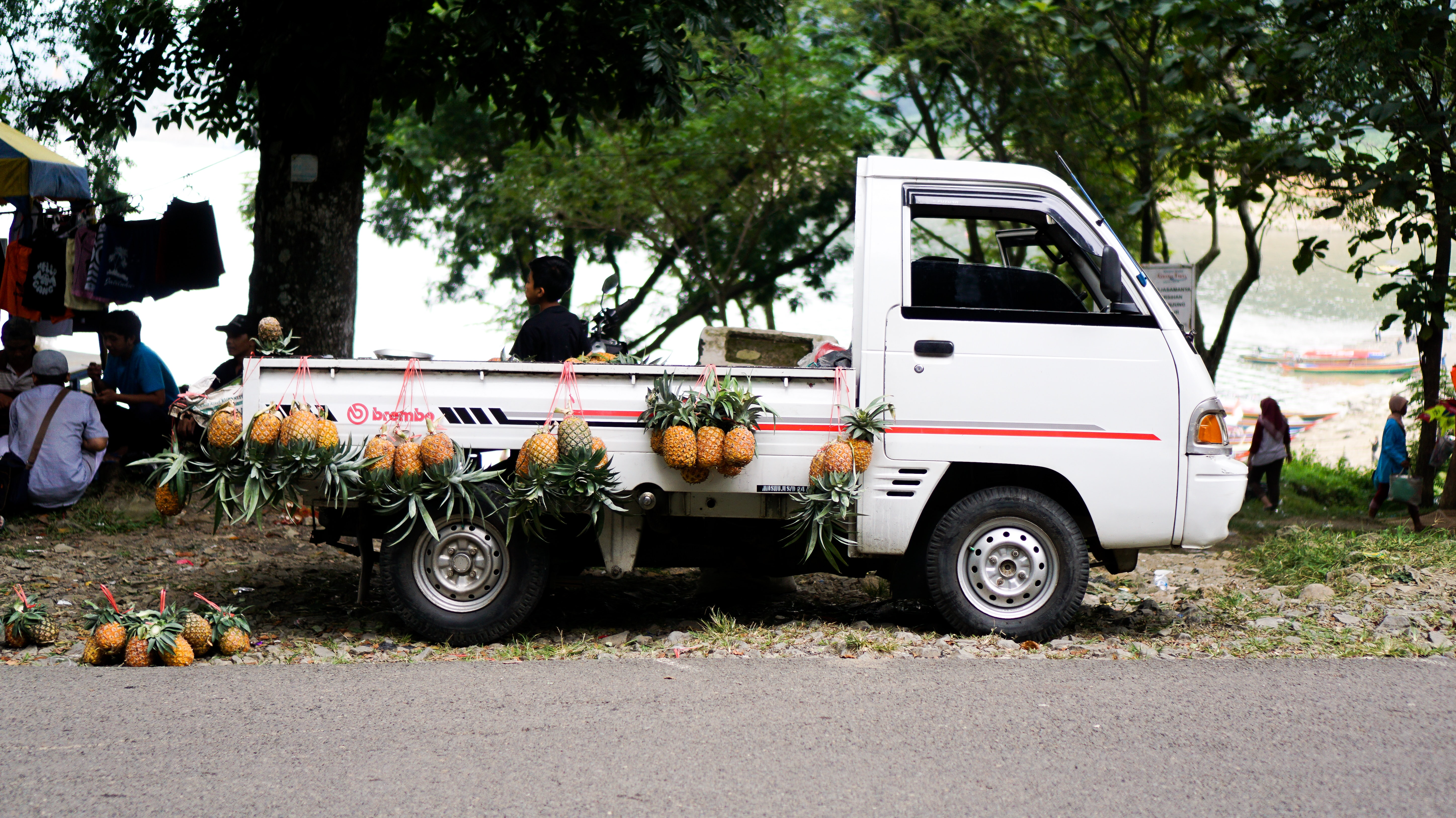 pineapples hanged on dropside truck