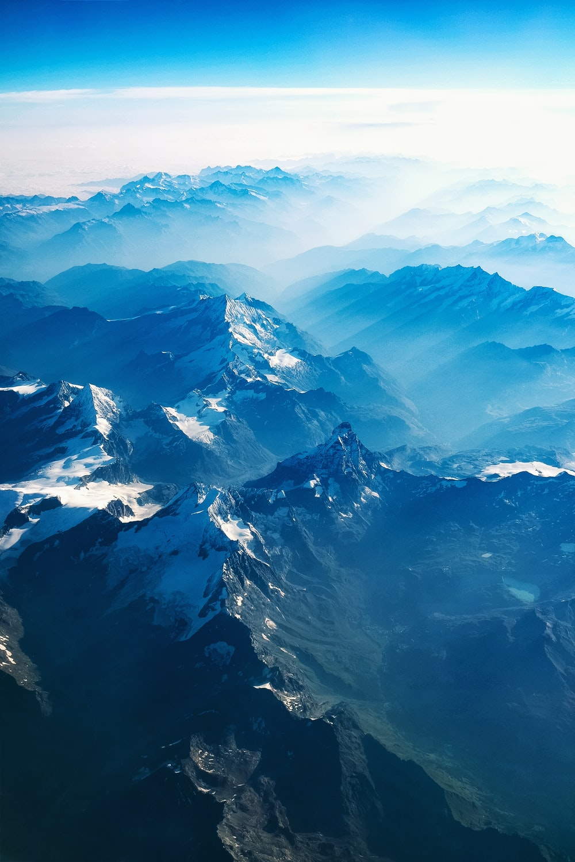 bird's eye view of mountains