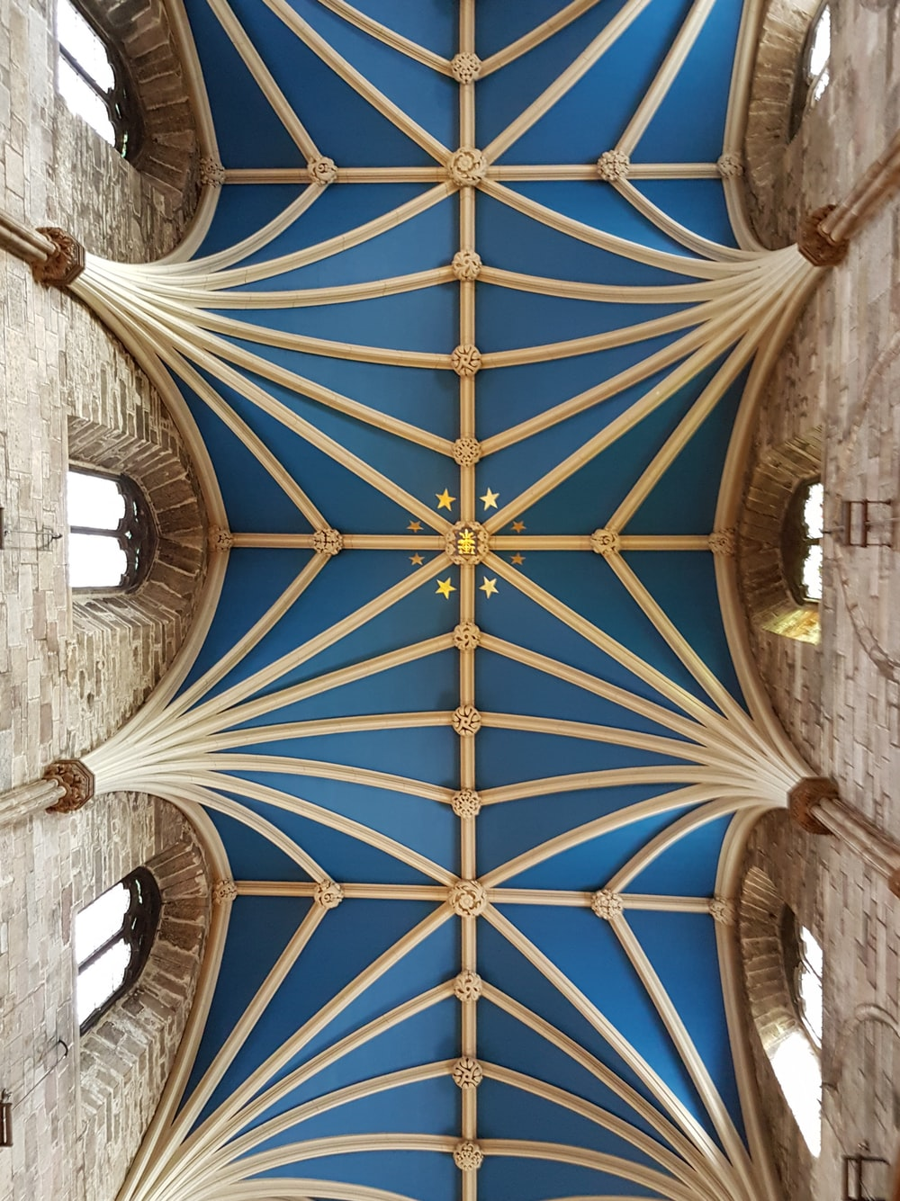 closeup photo of brown and blue ceiling