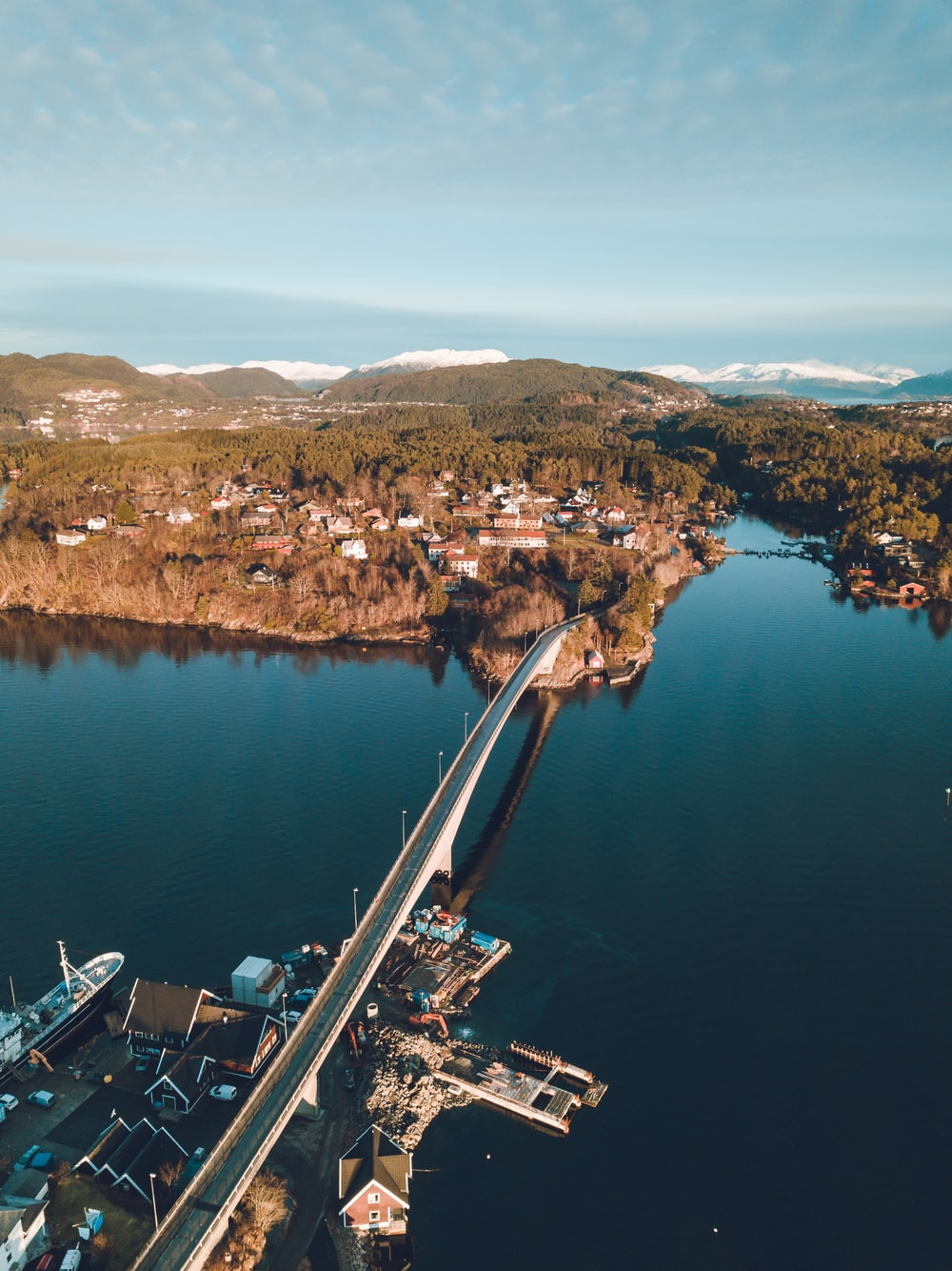bird's eye view photography of bridge connecting island