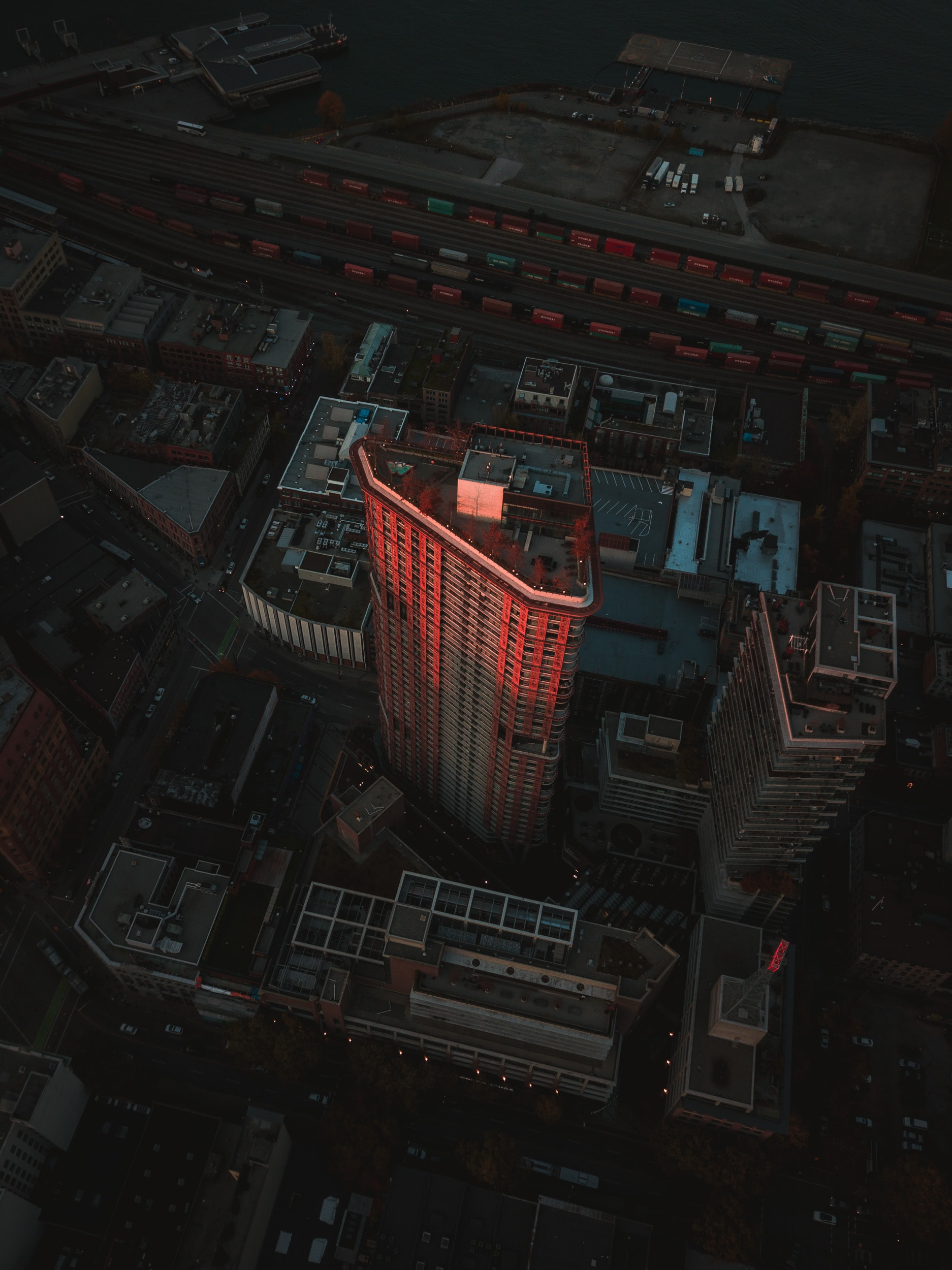 bird's eye view of red high-rise building