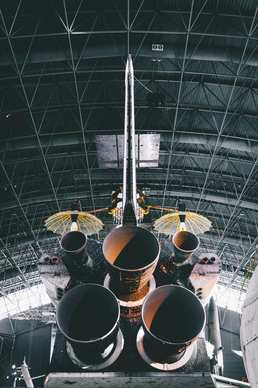photo of rocket ship inside warehouse