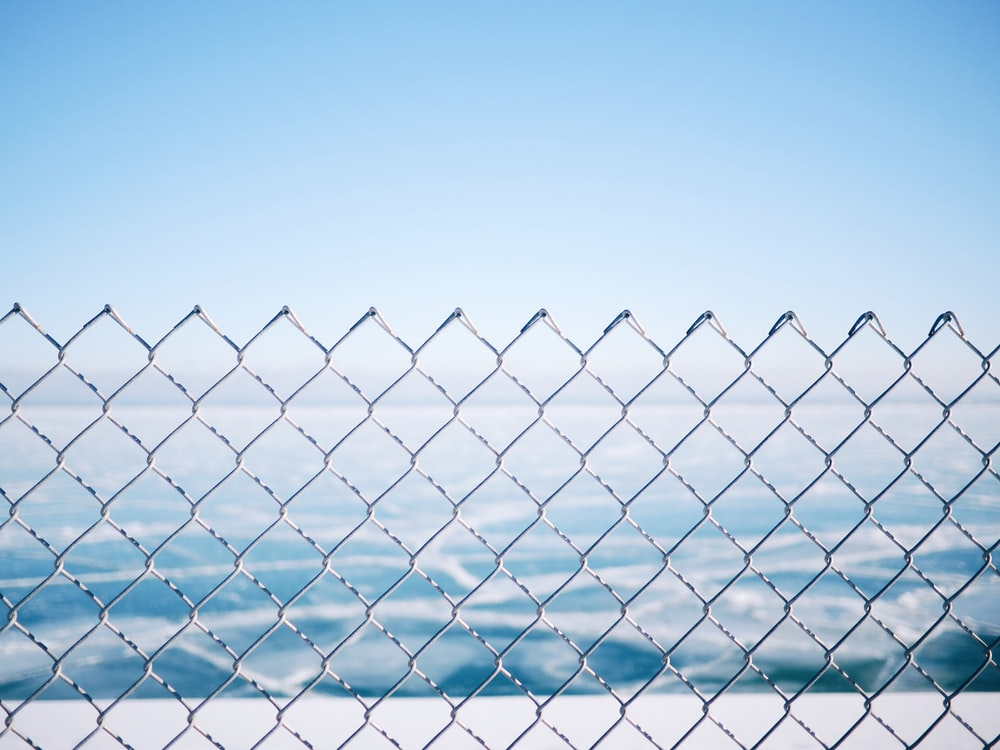closeup photo of metal link fence