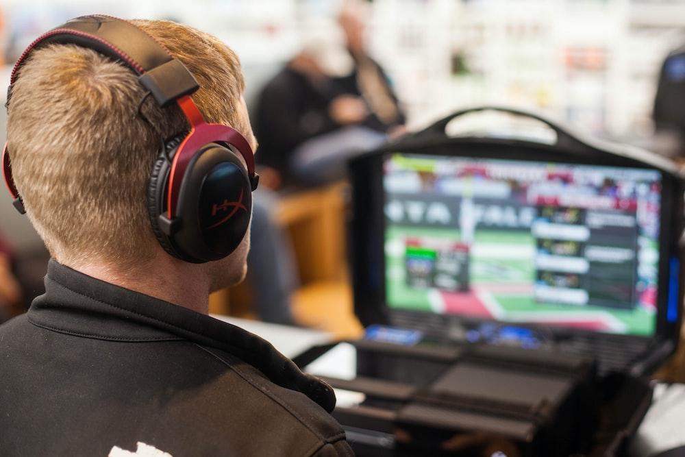 man watching computer game