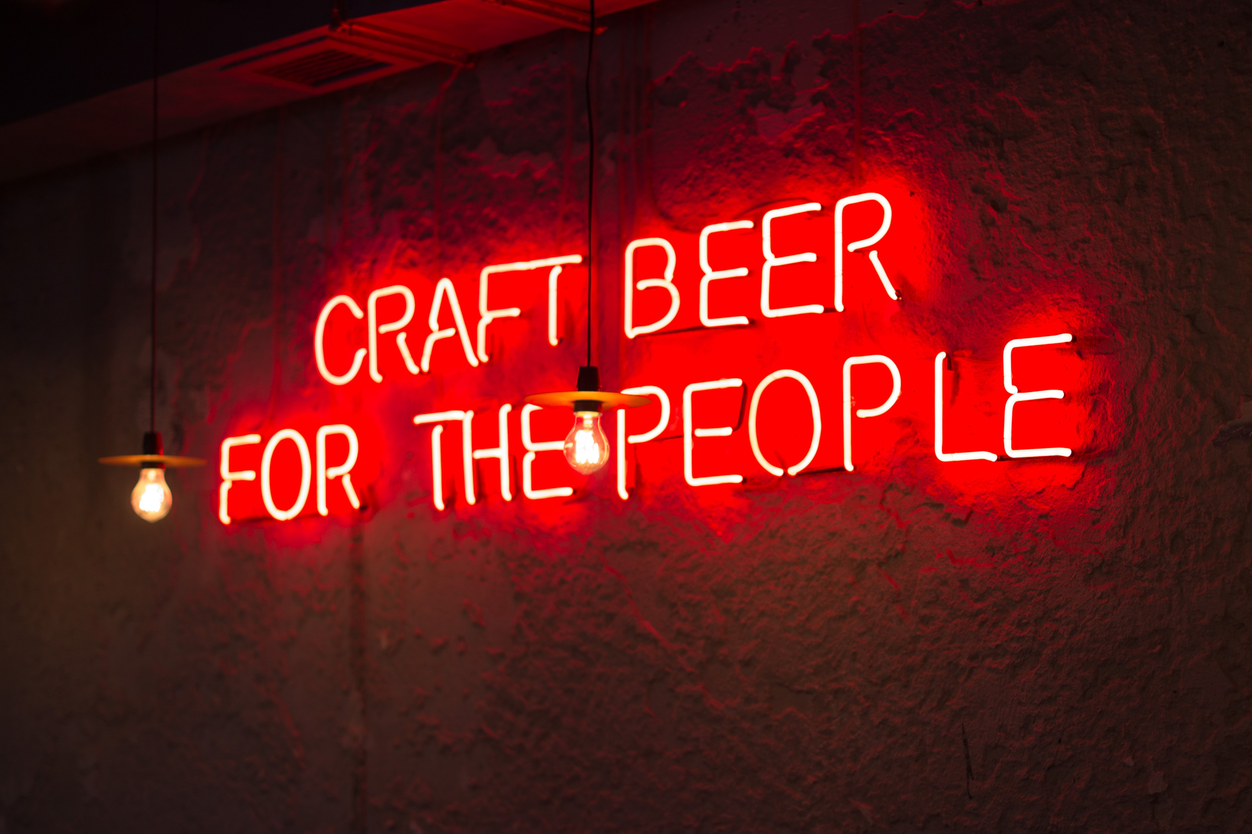 photo of craft beer for the people neon signage