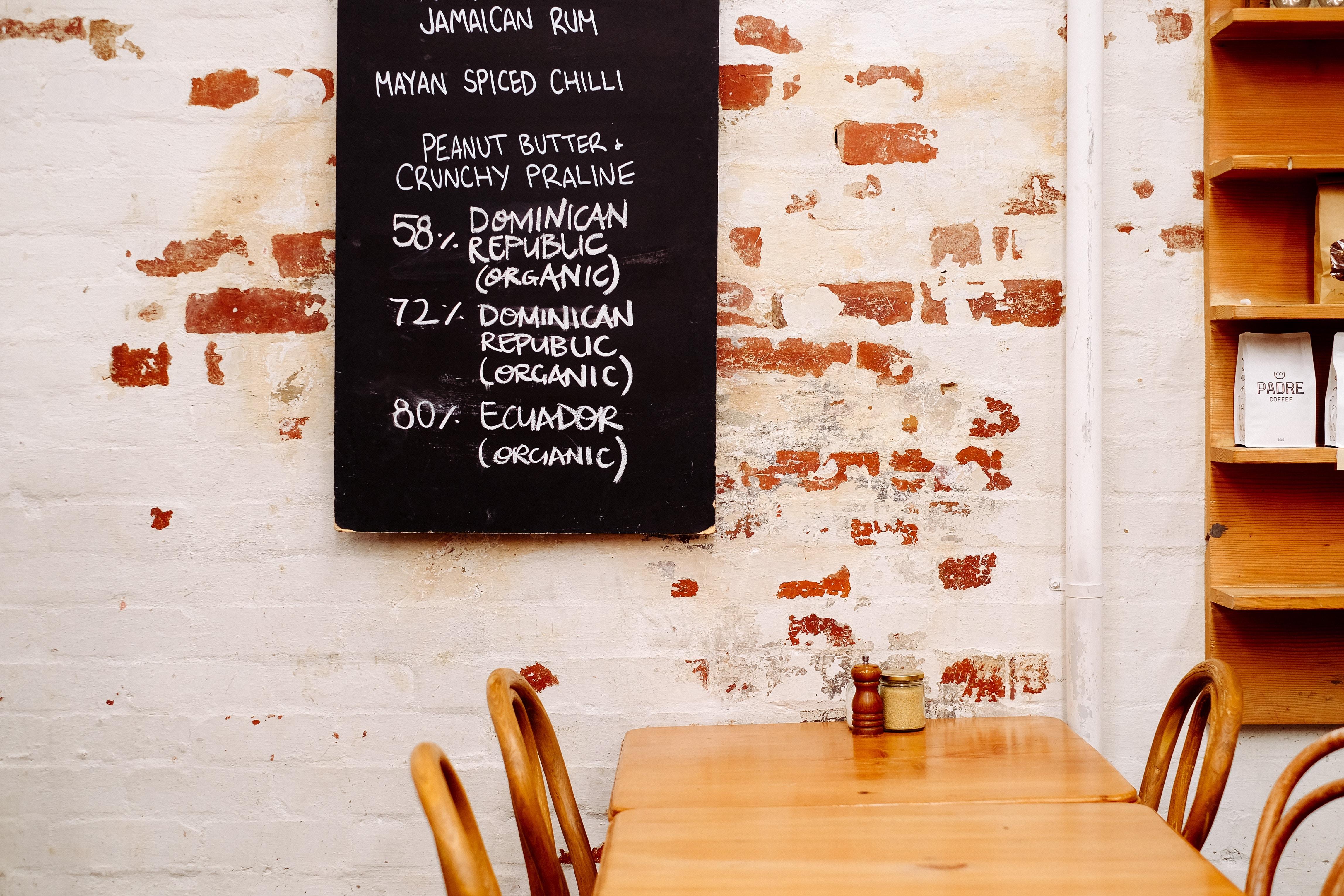 black menu on wall
