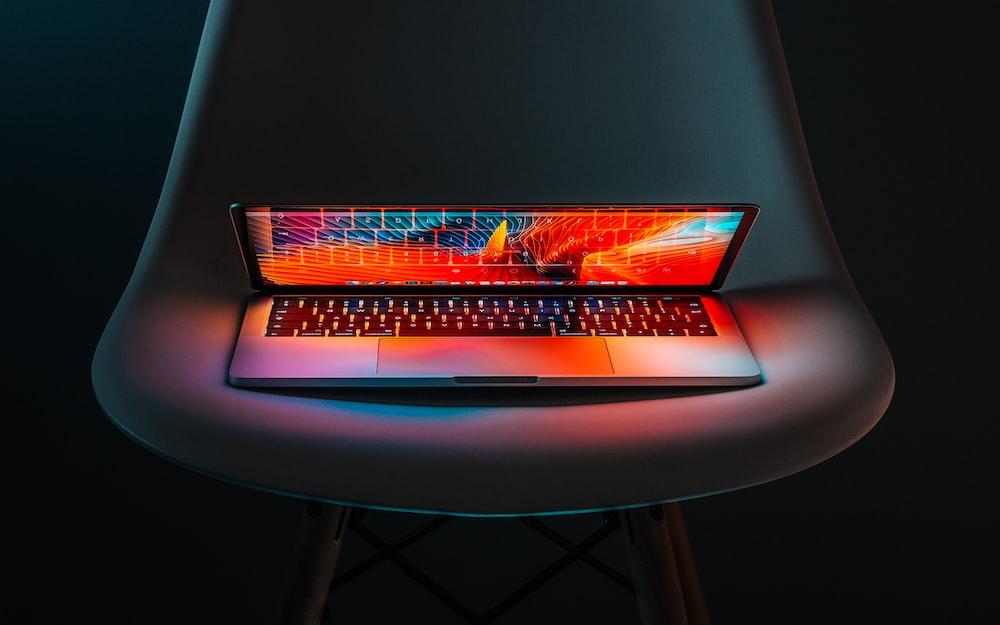 photo of half-flipped laptop