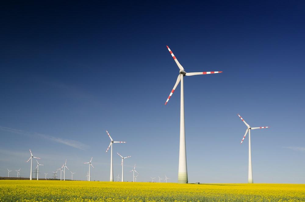 windmills on grass field at daytime