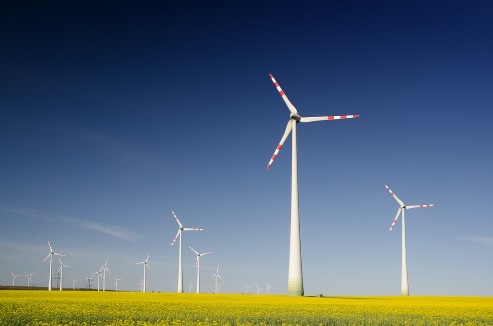 windmills on grass field at daytime