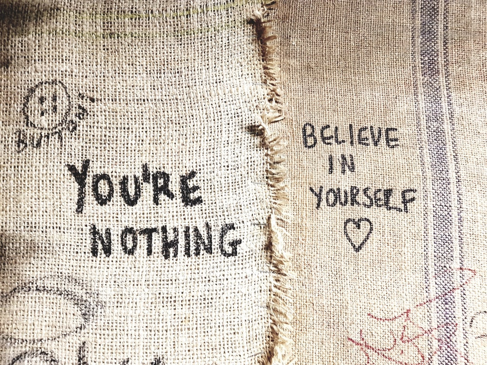 you're nothing and believe in yourself printed sacks