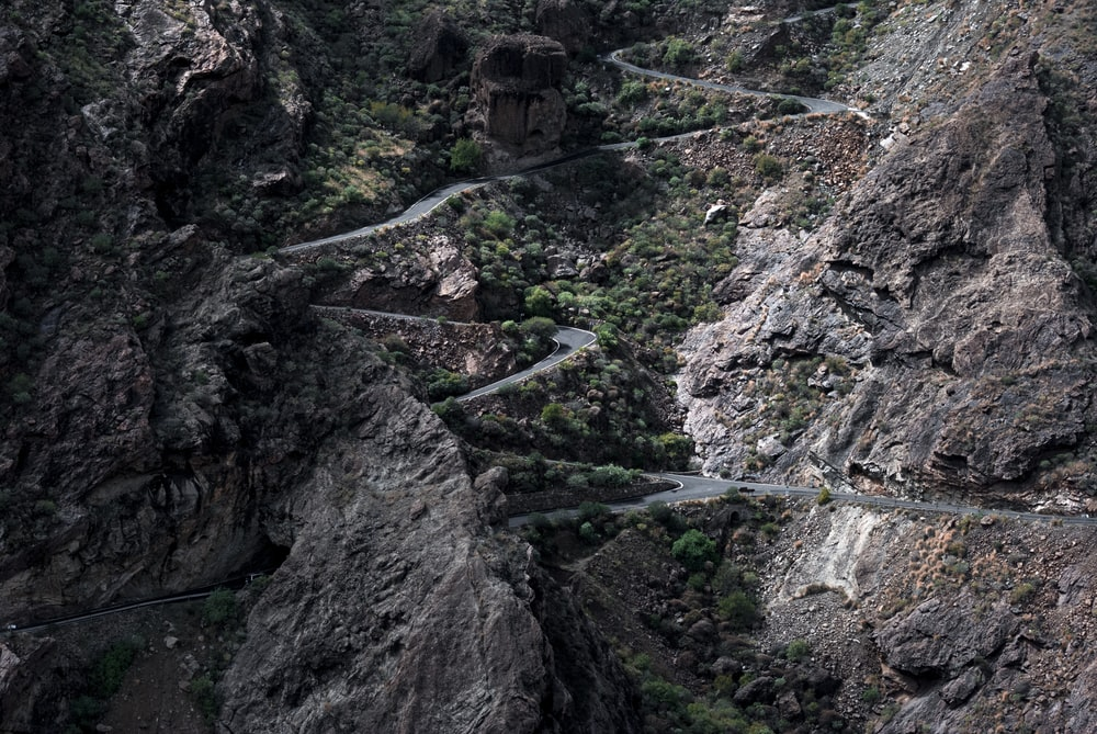 aerial photography of mountain pass