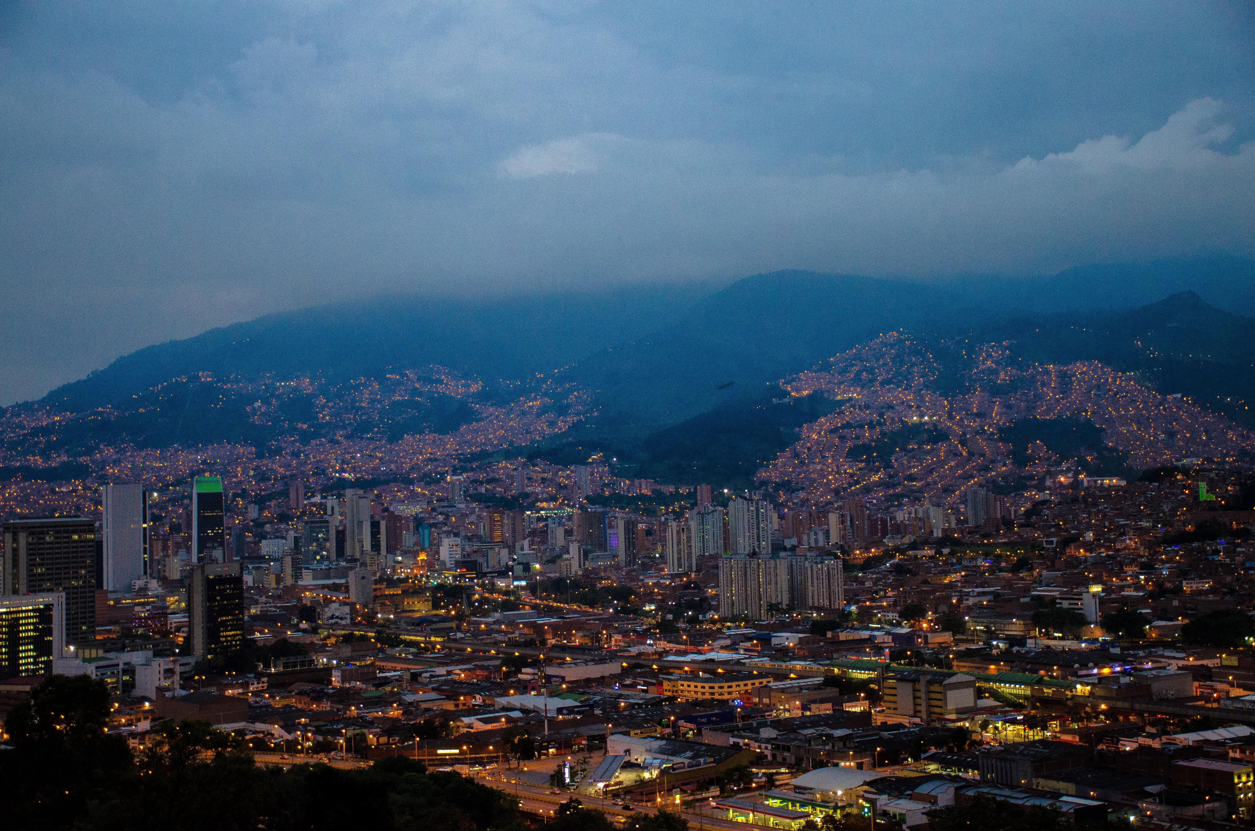 city scraper at night time