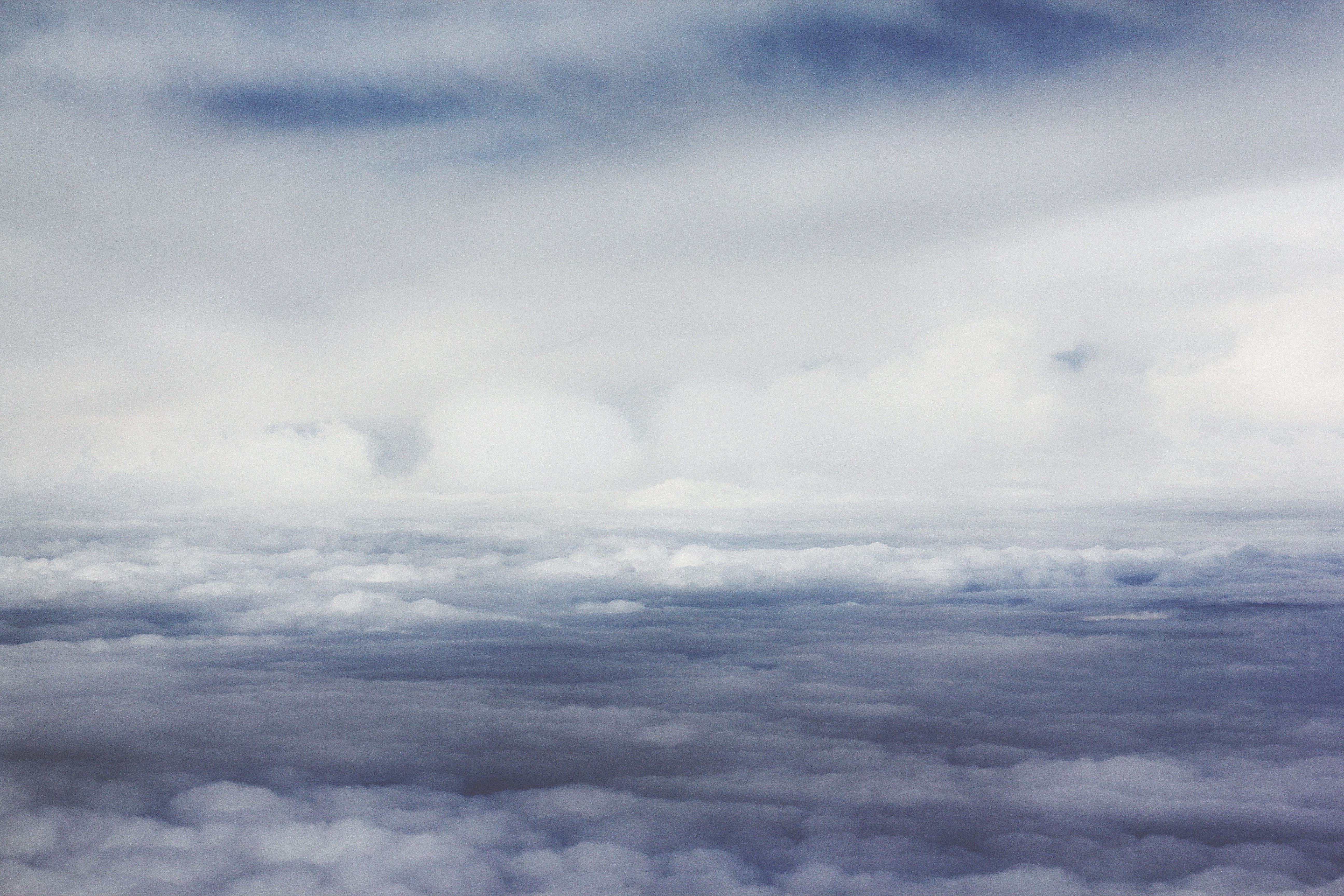 bird's-eye view of white clouds
