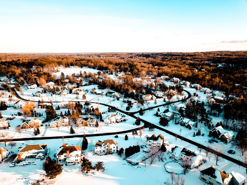 snow coated village