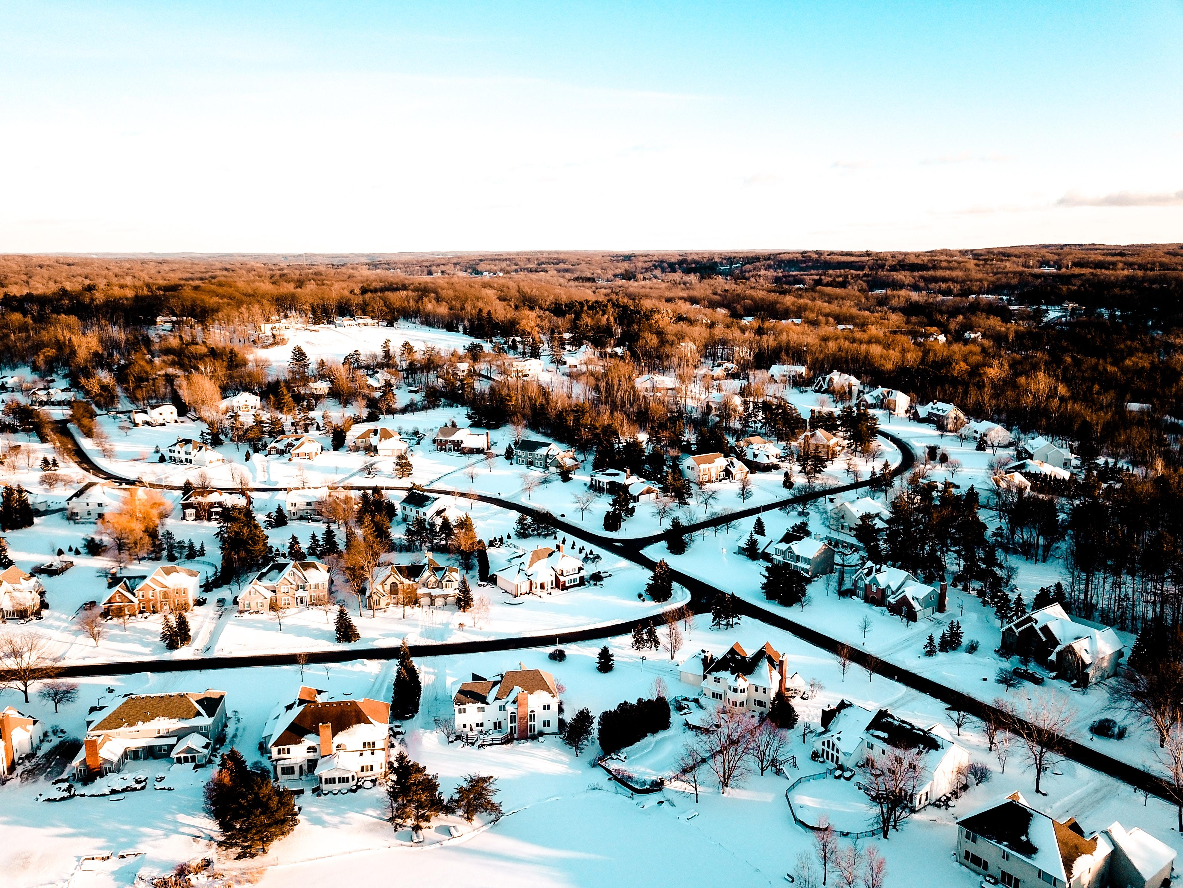 snow coated village