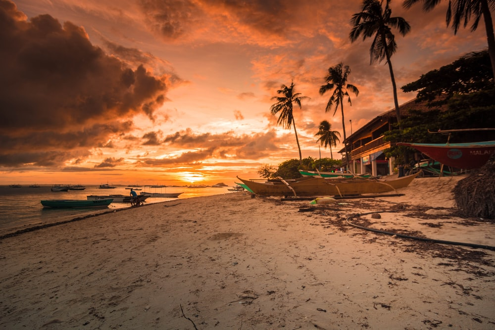 photography of beach resort during golden hour