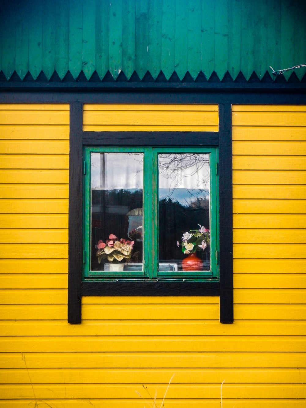 yellow and black painted house with green framed glass window
